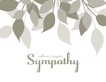 Muted Gray Leaves Sympathy Cards